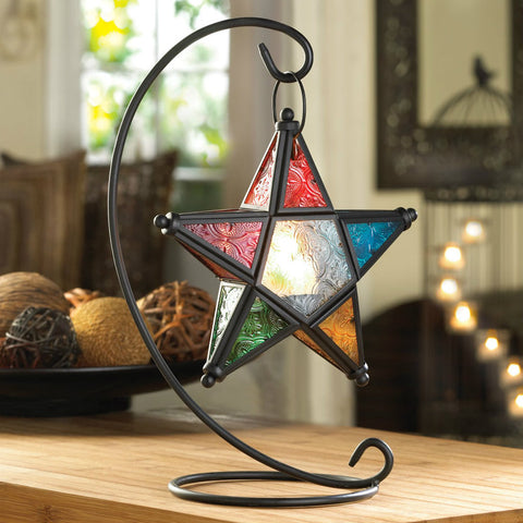 Multi-Colored Star Hanging Candle Lantern