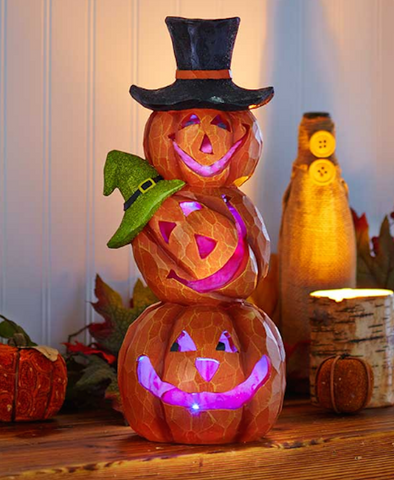 "Color Changing 14"" Lighted Stacked Pumpkins"