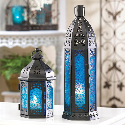 Tall Floret Blue Candle Lantern