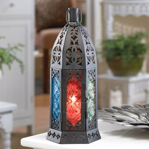 Multi-Colored Glass Candle Tower - 10 inches