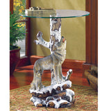 Winter Wolf Glass-Top Accent Table