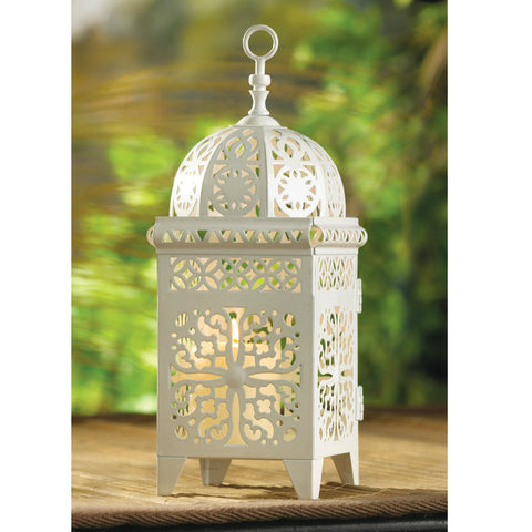 White Scrollwork Candle Lantern