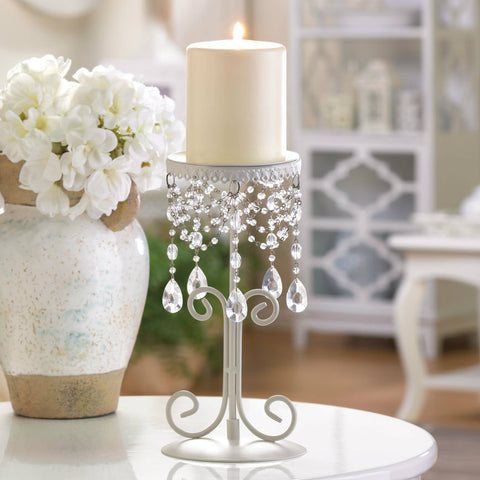 Ivory Candle Holder with Crystal Drops