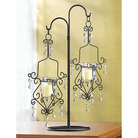 Black Twisted Wire Jeweled Candle Holder