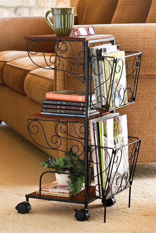 3 Tier Rolling Magazine End Table with Storage - Magazine Holder Organizer Rack - Coffee Table