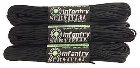 Infantry Survival 100FT Type III 7 Strand 550 Paracord Lanyard Rope Cord By Sola