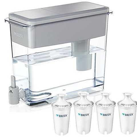 BPA Free Gray Brita 18 Cup UltraMax Water Dispenser with 4 Advanced Replacement
