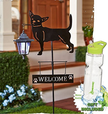 Solar Powered Chihuahua Dog Breed Guest Welcome Lantern Light Stake