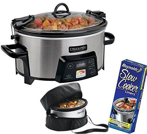 6-Quart Digital Slow Cooker + Liners & Insulated Travel Bag
