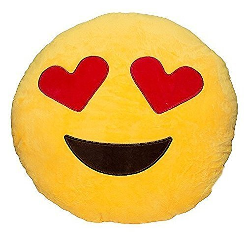 Emoji Smiley Hearts Emoticon Yellow Round Cushion Pillow Stuffed Plush Soft Toy