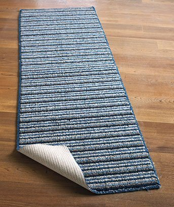 Extra-long Nonslip Striped Runners 120'' Blue