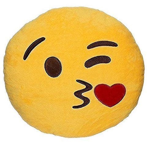 Emoji Smiley Kissing Emoticon Yellow Round Cushion Pillow Stuffed Plush Soft Toy