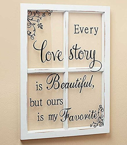 LOVE STORY White Wooden Window Pane Frame Sentiment Decor Shabby Chic Cottage Wa