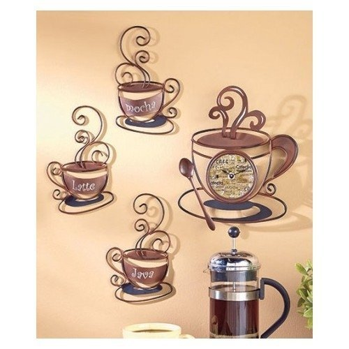 Decorative Metal Coffee Collection, Clock, Mocha, Lattee, and Java Wall Art