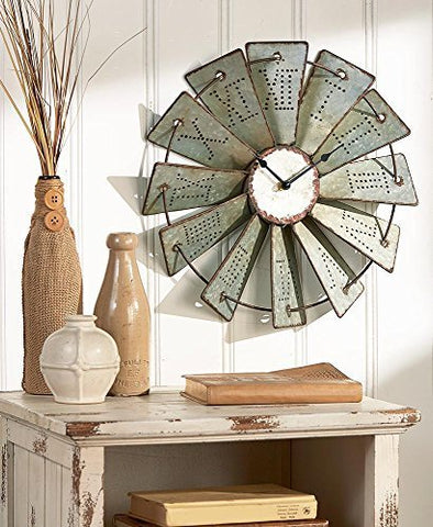 Country Decor Metal Windmill Rustic Country Primitive Roman Numerals Wall Clock