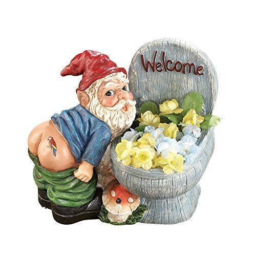 Motion Sensored Farting Noise Gnome Hand-Painted Planter
