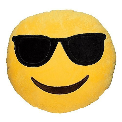 Emoji Smiley Sunglasses Emoticon Yellow Round Cushion Pillow Stuffed Plush So...