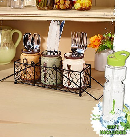4-Pc. Wire basket Utensils Forks Spoons Flatware Ceramic Caddy Jar