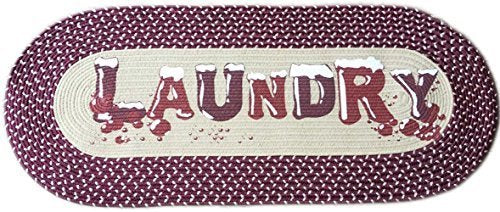 Homecricket - Burgundy Vintage Laundry Room Decorative Braided Area Runner - Rug