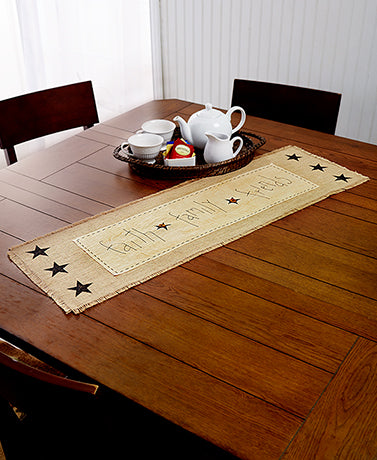 Decorative Kitchen Country Faith/Family/Friends Table Runner