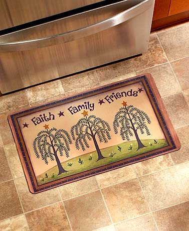 Kitchen Floor Faith Family Friends Indoor/Outdoor Country Rubber Mat