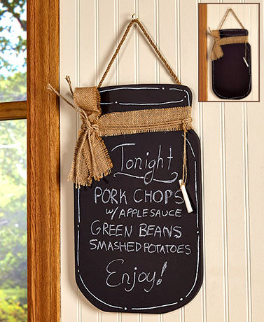 Antique Country Mason Jar Kitchen Wooden Chalkboard