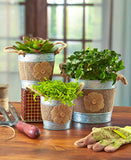 Versatile Set of 3 Bucket Metal Storage Planters W/ Rope Handles & Burlap