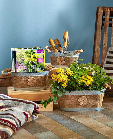Versatile Set of 3 Metal Storage Planter Buckets With Rope Handle