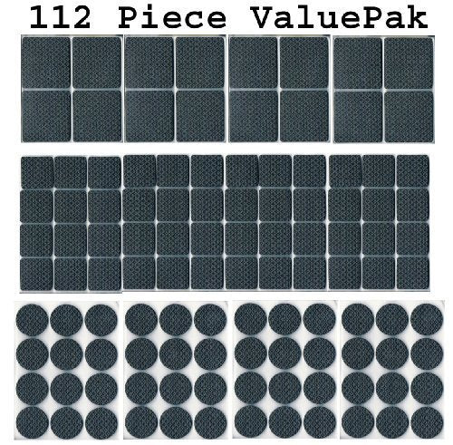 112 Piece Rubber Anti-Skid Pad Value Pack (Furniture and Floor Protectors) 112 p