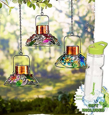 Outdoor Colorful Hanging Solar Powered Garden Crackle Glass Ball Lamps