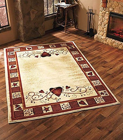 "63"" X 90"" Whimsical Country Hearts and Stars Area Rug Shabby Chic Home Accent De"