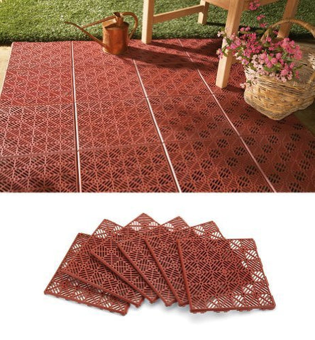 Interlocking Patio Tile Flooring - 6 Pc
