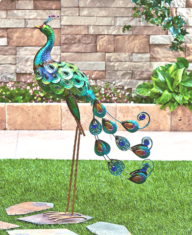 Multicolored Shimmering Metallic Outdoor Metal Bird Sculpture Decor