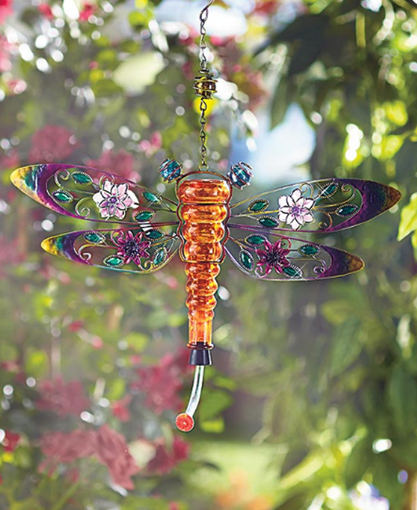 Colorful Glass Dragonfly Hanging Hummingbird Garden Birds Watch Feeder