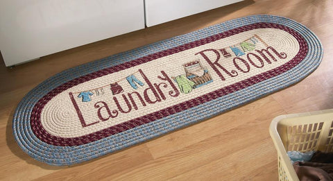 "20"" X 48"" Blue Vintage Laundry Room Decorative Braided Area Runner - Rug - Floor Mat - (Laundry Room Decor- Laundry Room Ideas Designs) -"