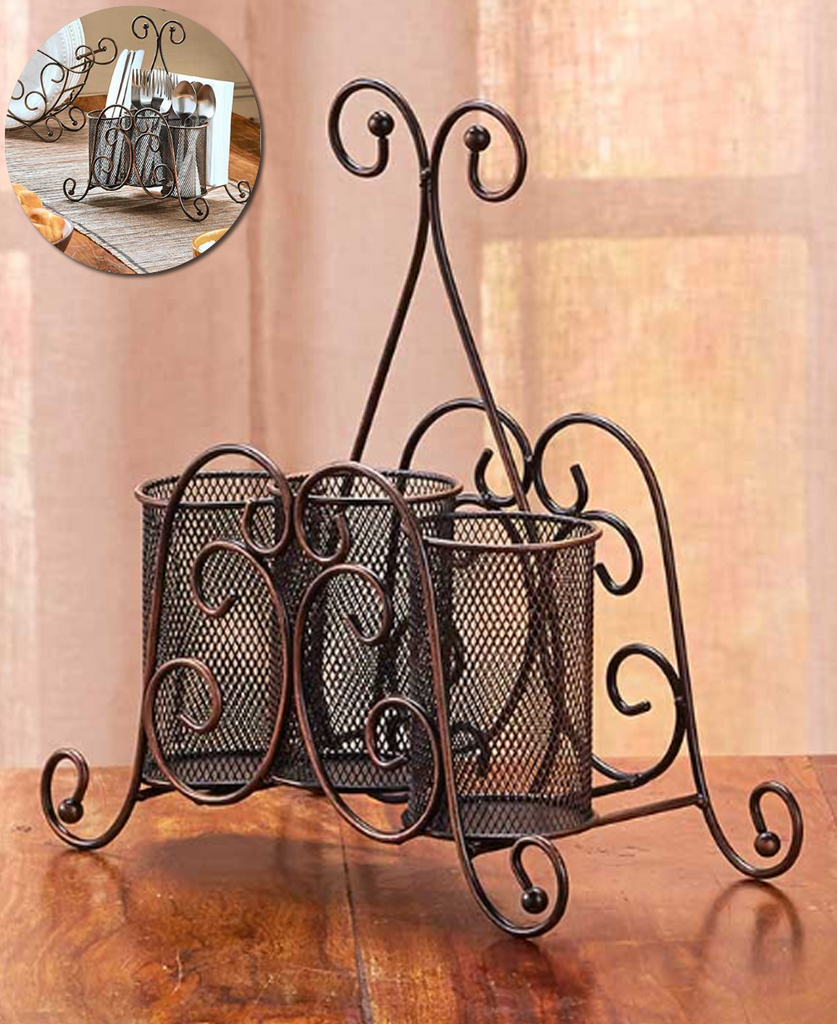 Kitchen Tabletop Utensils Organization Elegant Flatware & Napkin Caddy