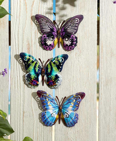 Blue/Purple Hanging Butterfly Garden Wall Plaques Set of 3