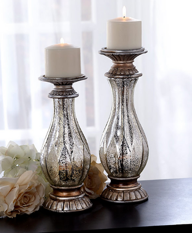 Set of 2 Distressed Antique-inspired Vintage Decor Glass Candleholders