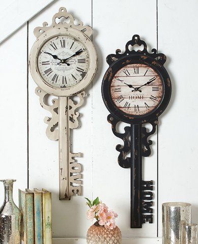 Vintage Antique-Inspired Roman Numerals Key Wall Clocks