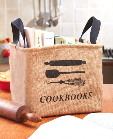 Kitchen Cookbook Recipe Book Storage Bin Tote Bag