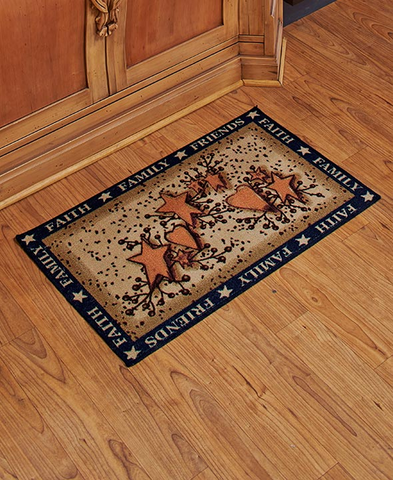 Country Kitchen Hearts and Stars Floor Rug Mat