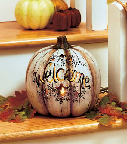 Decorative Country Lighted Welcome Pumpkin Fall Accent Decor