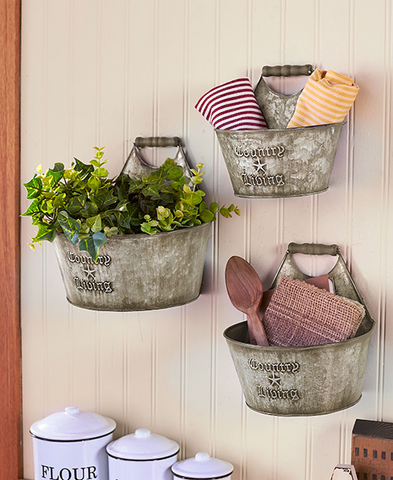 Set of 3 Rustic Country Living Wall Buckets Home Decor Accents