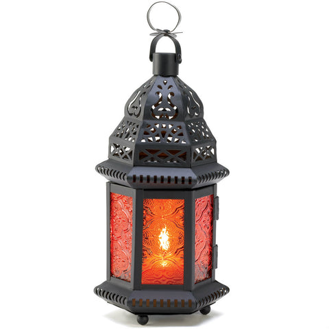 Sunset Orange Moroccan Candle Lantern - 10 inches