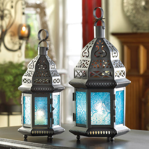 Large Blue Glass Moroccan Style Lantern