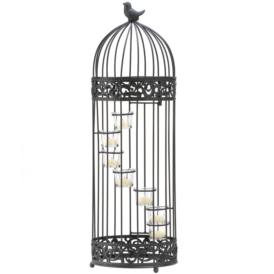 Black Lacy Cutout Floor Lantern