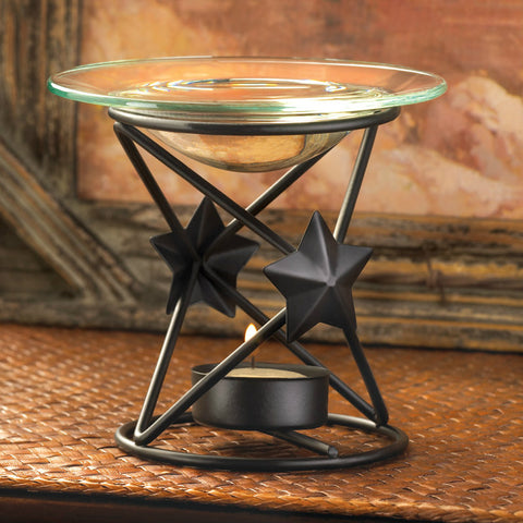 Matte Black Star Design Oil Warmer