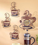 Decorative Clock w/ Metal Coffee Mocha, Latte and Java Collection