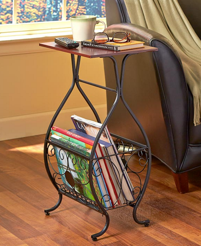 Decorative Scrolled Bathroom or Couch Storage Table Great for holding magazines, towels or other essentials