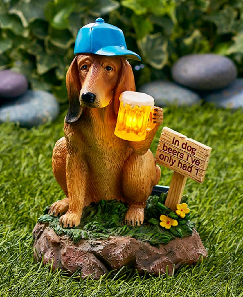 Solar Powered Dog Beer Garden Ceramic Statue Lighted Decor